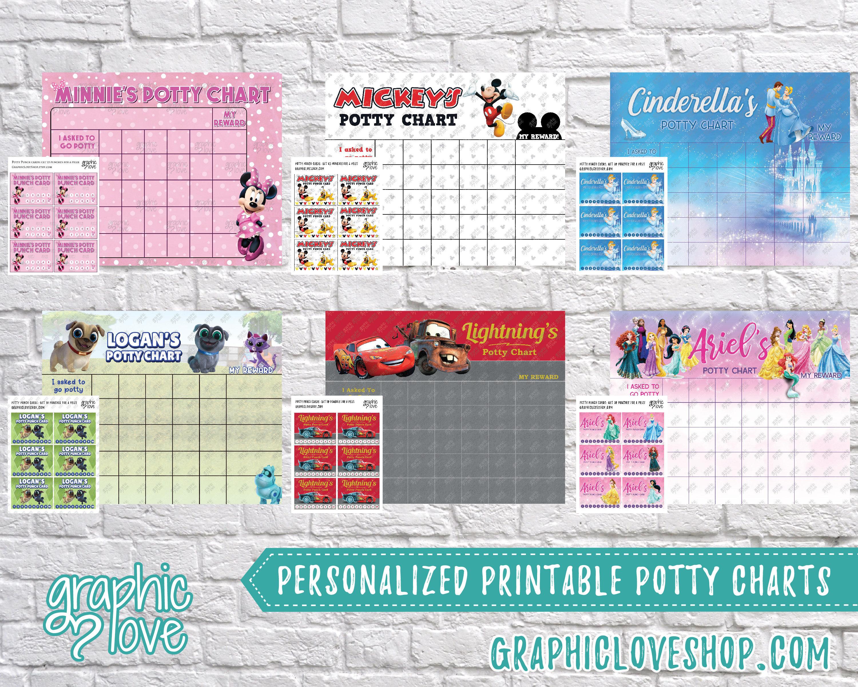 Digital Personalized Character Potty Training Chart Free
