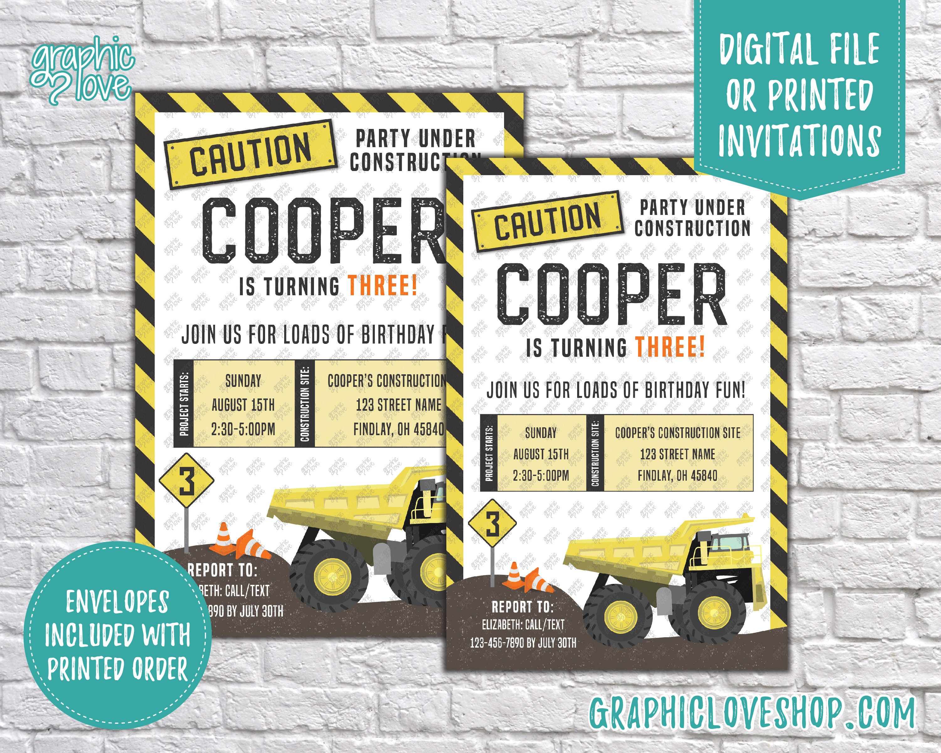 Construction Site, Dump Truck Personalized Birthday Invitation, Any ...