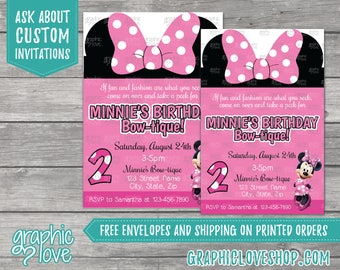 Pink Disney Minnie Mouse Bowtique Personalized Birthday Invitations, Any Age   4x6 or 5x7, Digital JPG File or Printed, FREE US Shipping