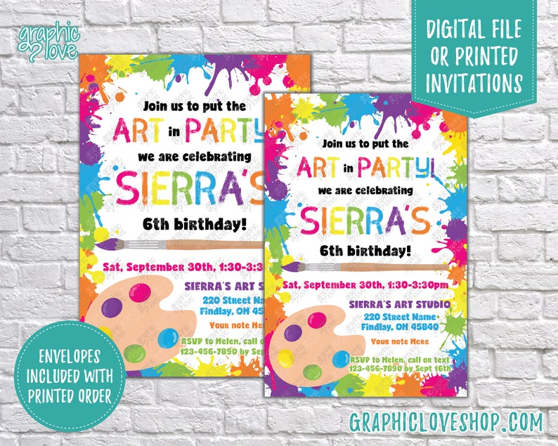 Put The Art In Party Paint Splatter Personalized Birthday