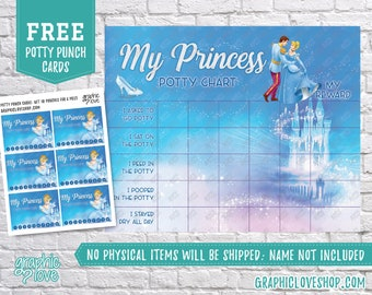 Digital Princess Cinderella Disney Potty Chart, FREE Punch Cards | High Res JPG Files, Instant download, NOT Editable, Ready to Print