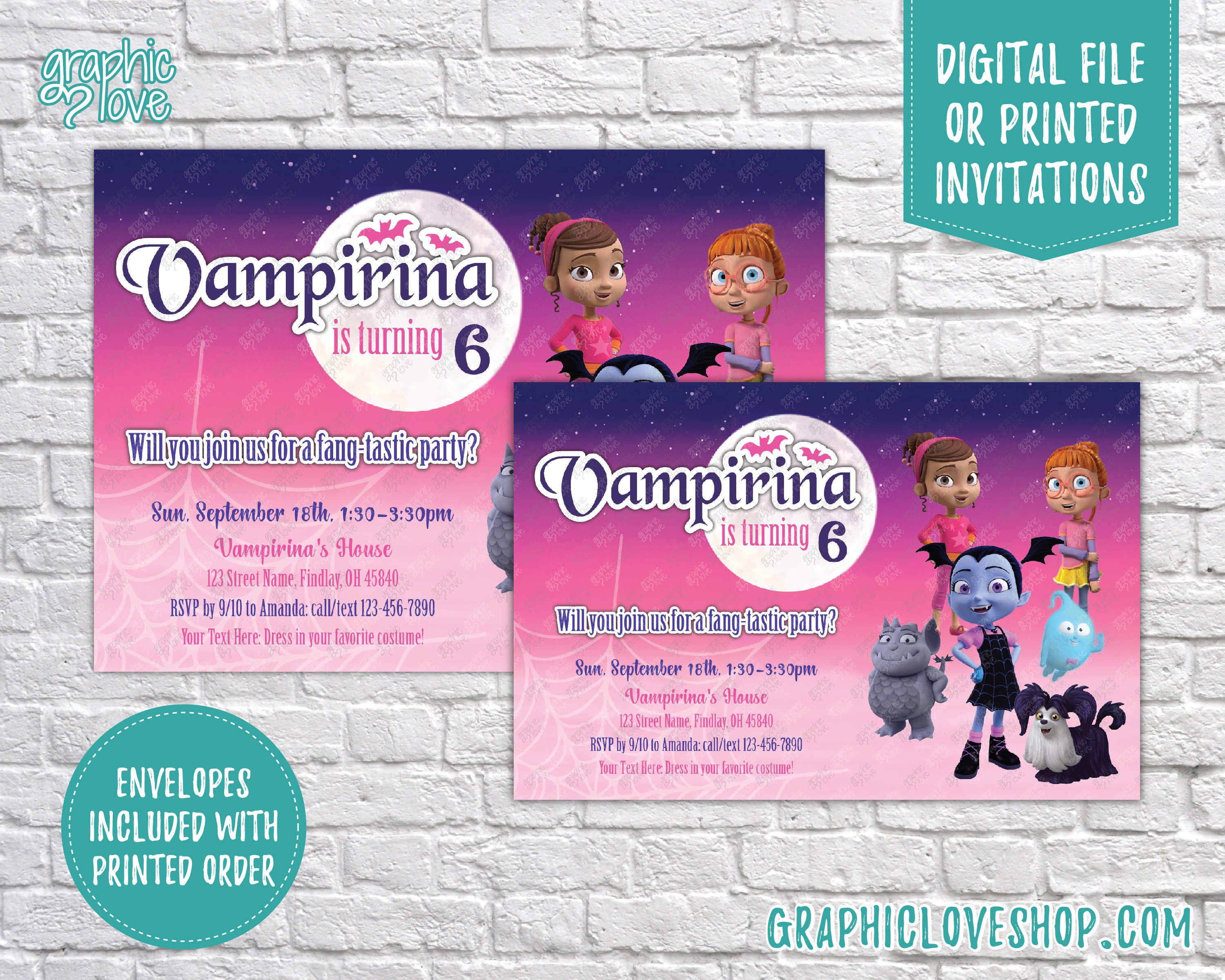 Personalized Vampirina Birthday Invitation Any Age Disney Junior
