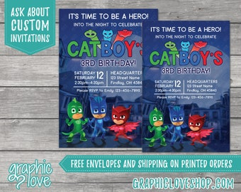 PJ Masks Personalized Birthday Invitations, Any Age   Catboy, Gekko, Owlette   4x6 or 5x7, Digital or Printed, FREE US Shipping, Envelopes