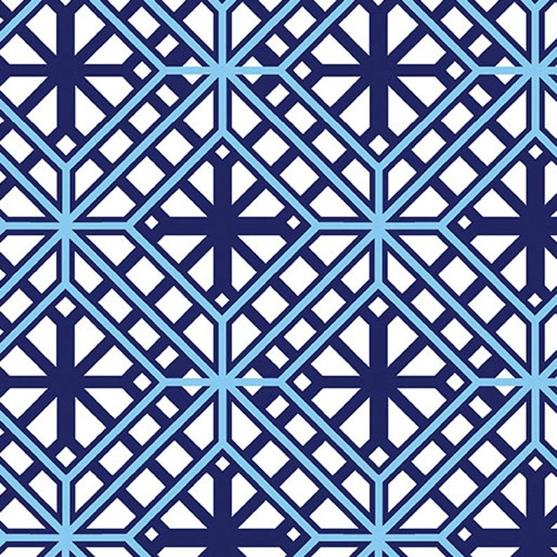 Listed by the Half Yard Citron Twist Fabric Collection Blue Geo Trellis Fabric by Maria Kalinowski for Kanvas Studios at Benartex