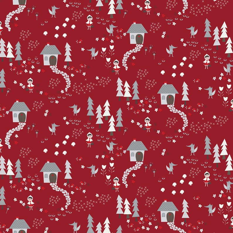 Priced by the Half Yard Little Red Fabric Red Forest Path Little Red Riding Hood by Meags and Me Clothworks