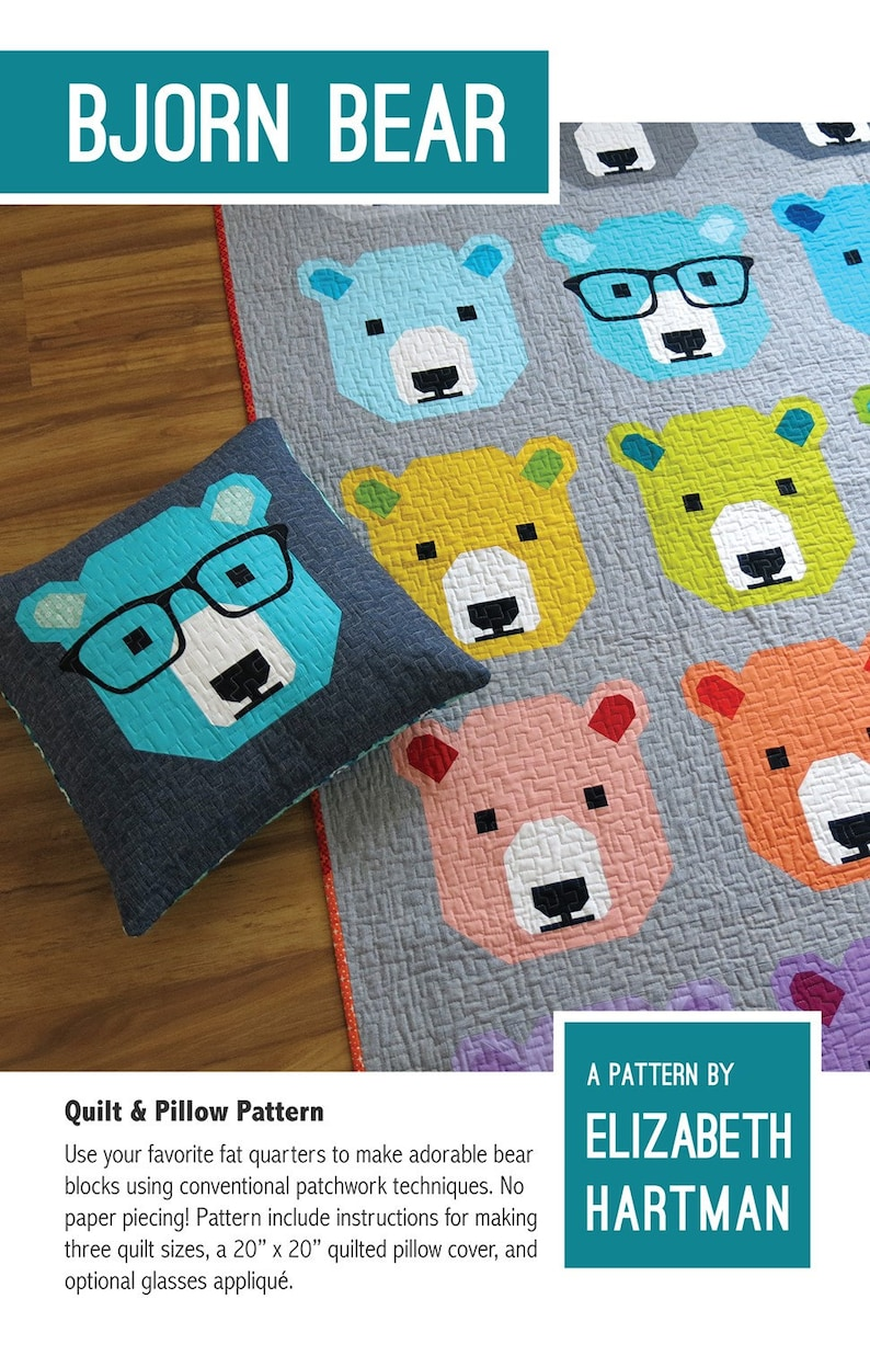 Bjorn Bear Quilt Pattern by Elizabeth Hartman from Oh Fransson Quilts quilt and pillow pattern