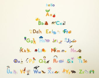 Decowall DA-1708 Watercolor Animal Alphabet Wall Stickers