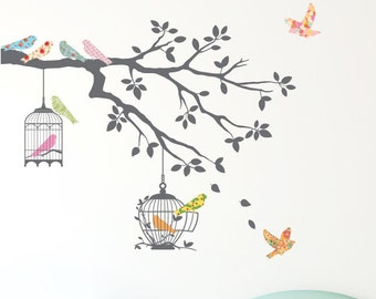 Decowall,DW-1510,Birds on Tree Branch with Bird Cages Wall Stickers