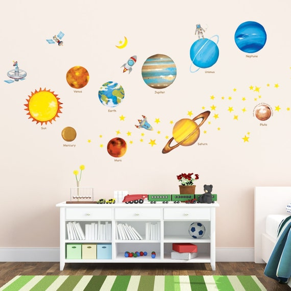 Decowall DAT 1307L Planets In The Space Kids Wall Stickers