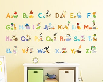 Decowall DAT-1708 Watercolor Animal Alphabet Wall Stickers