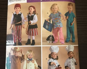 halloween costumes toddler boys girls simplicity 3650 pirates chefs doctors cowboy cowgirl diy sewing patterns