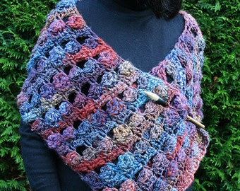 Multicolored crochet shawl shrug hand-made in blue red purple wool with shiny thread , wife gift , girlfriend gift , gift for her