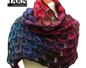 Crochet rainbow shawl scarf wrap in multicolor and soft yarn / gift for woman wife girlfriend / Thanksgiving / Noel / Valentine's day