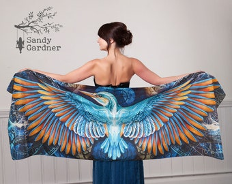 Constellation kingfisher Scarf, Prom scarf, kingfisher shawl, burning man, wing scarf, scarf, Winged scarf, bird wings, winged shawl