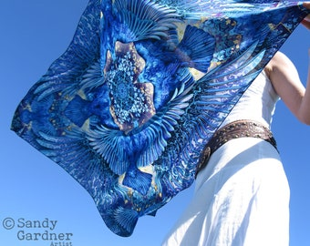 Raven Square Scarf, three eyed raven scarf, raven spirit guide scarf, sarong, wing scarf, prom scarf, Wing scarf, bird wings, winged shawl