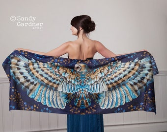 Owl Wing Scarf, Acclaimed British Artist, Silk, Quality cotton shawl, Mothers Day, gift for her, feather scarf, owl shawl, owl gift