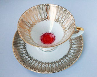 Red Gold Tea Cup Etsy