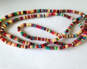 """HIPPIE RAINBOW BEAD Necklace, 22"""" Long Boho Necklace, Gypsy Traveler Beaded Long Necklace, Colorful Long Bead Necklace"""