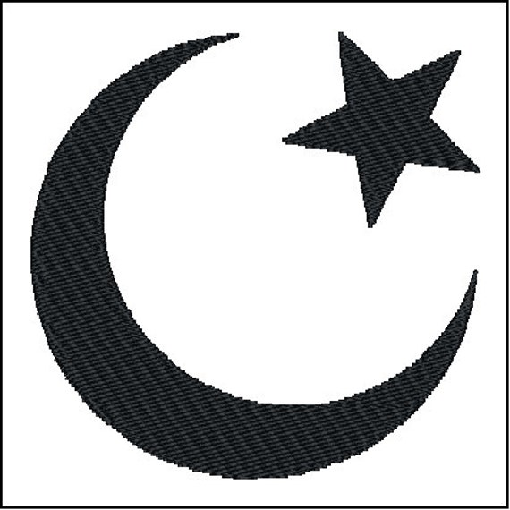 Islam Crescent Moon And Star Symbol Embroidery Design Etsy