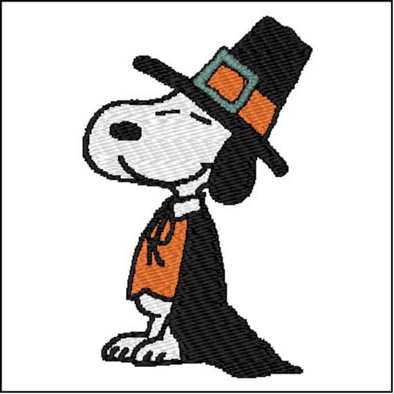 Diseño de patrones de bordado de Snoopy Pilgrim | Etsy