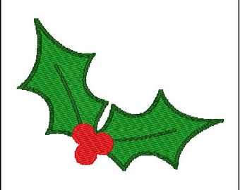 Christmas Holly Leaves Embroidery Pattern Design 3 Sizes