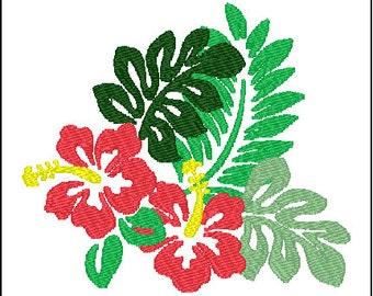 Hawaiian Hibiscus Flower Embroidery Design