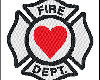 Fireman Shield Embroidery Design