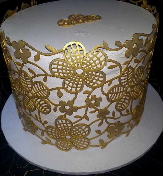 6 EDIBLE WAFER RICE PAPER SHINYPEARL LACES CAKE BIRTHDAY ANNIVERSARY ENGAGEMENT