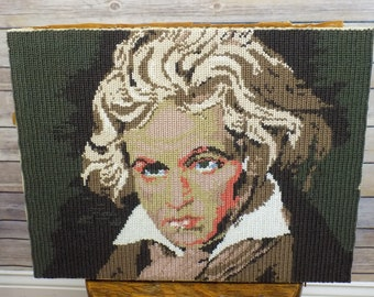 Vintage Ludwig Van Beethoven Composer Needlepoint Art Work