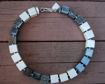 Safari-Chic African, Eco-Friendly, Statement Beaded Necklace Featuring Grey & White Handmade Beads from Nairobi