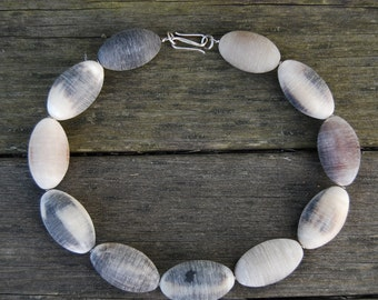 Safari-Chic, Eco-Friendly, Statement African Beaded Necklace Featuring Neutral Handmade Egg-Beads from Nairobi