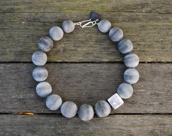 NEW!! Safari-Chic, Eco-Friendly, Statement Necklace of Grey Matte and Aluminum Beads Handmade in Nairobi