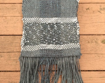 NEW!! Grey and Silver Handwoven Statement Long Scarf