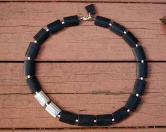 NEW!! Safari-Chic, Eco-Friendly, Delicate Statement Necklace of Black Matte Rectangular Beads and Aluminum Handmade in Nairobi