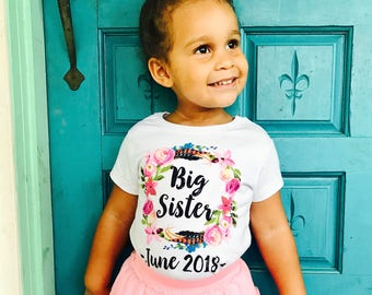 Big Sister Shirt With Date, Big Sister Announcement, Big Sister Outfit, Big Sister Gifts For Toddlers, Big Sister Shirt, Big Sis Outfit