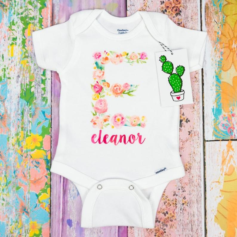 1e3c672044ae2 Custom Baby Girl Onesie, Baby Girl Coming Home Outfit, Custom Girl Shirt,  Monogram Baby Girl, Newborn Girl Outfit, Personalized Girl Onesie