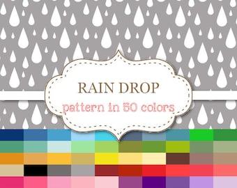 """RAIN DROP Digital paper 50 Color Paper Pack Rain drop background Printable rainy background Printable rain drop scrapbook paper 12""""x12""""#P160"""