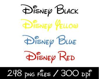 5u0027u0027 Disney Alphabet Clipart Printable Disney Letters U0026 Numbers In BlackBlue  Yellow Red Scrapbooking Invitations Graphic INSTANT DOWNLOAD