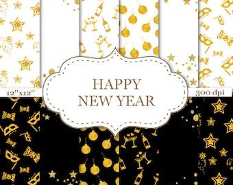 new years digital paper black white gold new year seamless patterns scrapbook paper new years eve pattern celebration pattern p037