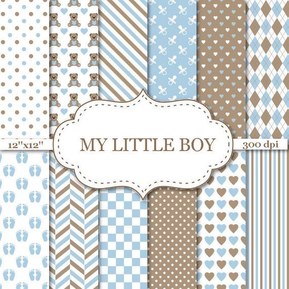 My Little Boy Digital Paper Blue And Brown Digital Paper Boy Etsy