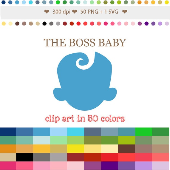 50 Colors Digital The Boss Baby Clipart Baby Shower Clipart Etsy