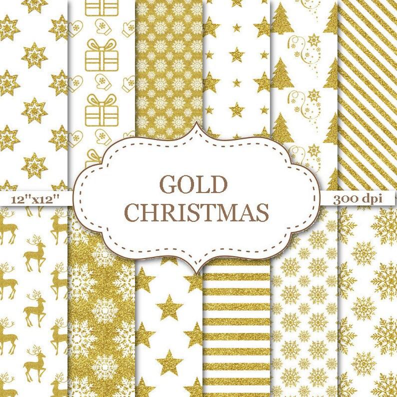 Oro Natale Carta Digitale Inverno Bianco E Oro Carta Digitale Etsy