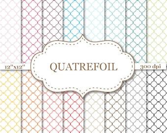 """QUATREFOIL Digital Paper Colorful Qatrefoil Scrapbook Paper Printable quatrefoil pattern paper Scrapbooking Instant Download 12""""x12"""" #P068"""