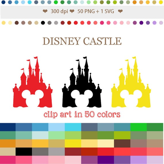 50 Colors Digital Disney Castle Clipart Digital Mickey Castle Etsy