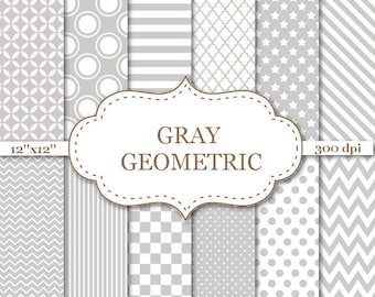 "Gray Geometric Digital Papers Printable Gray Geometric Pattern Scrapbook Background Gray Papers CardsCraft Supplies 300dpi 12""x12"" #P005"