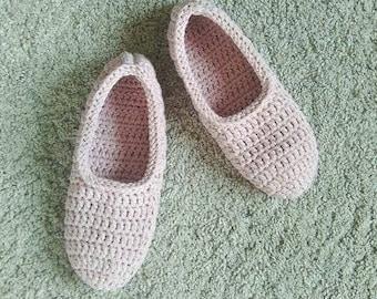 Women slippers, crochet slippers, pale pink slippers, gift for women, cotton slippers, antiperspirant