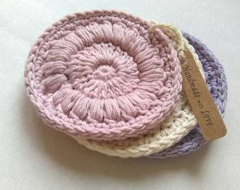 Organic cotton face scrubbies, crochet face scrubbies set of 3, reusable make up pads, crochet pads
