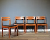 Set of 4 Vintage Midcentury Teak and Leatherette Chairs. Delivery. Modern Retro Danish style.