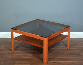 Vintage Midcentury Two Tier Teak And Smoked Glass Coffee Table. Delivery.  Danish / Retro Style.