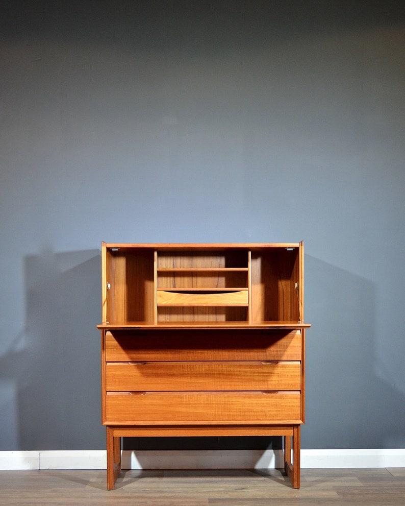 Bureau Retro Design.Stunning Vintage Midcentury Teak Bureau Drinks Cabinet Etsy